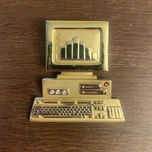 Gold Rhinestone Computer Brooch